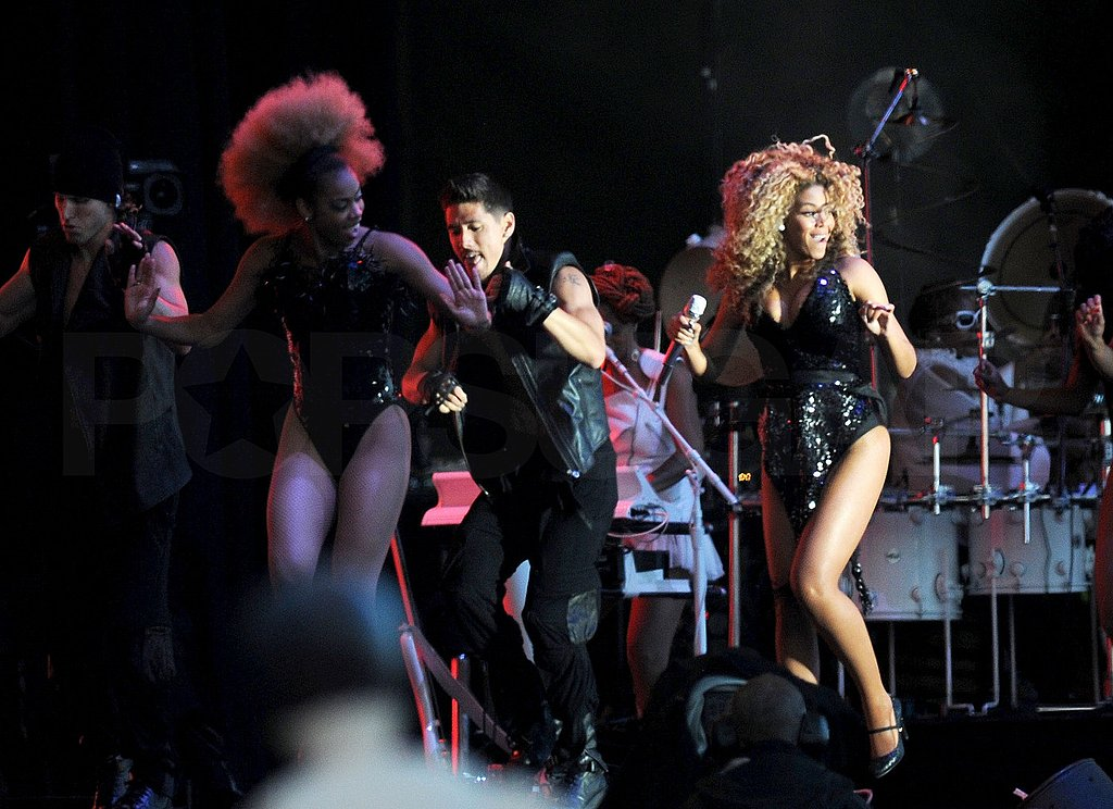 Beyoncé Knowles dances on stage.