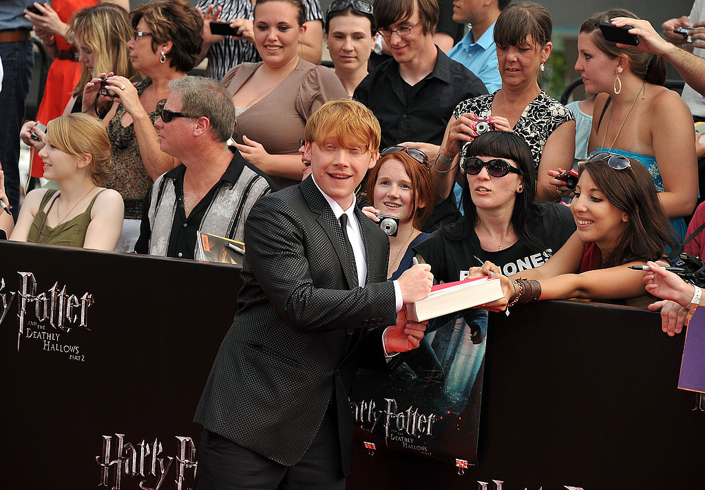 Rupert Grint with fans at the Harry Potter and the Deathly Hallows Part 2 premiere in NYC.