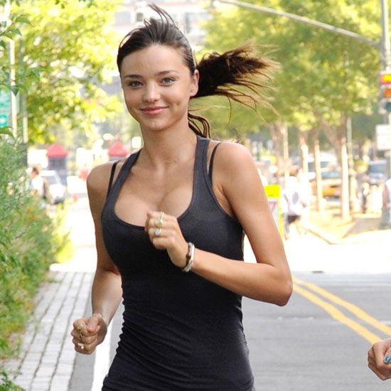 Miranda Kerr runs in NYC.