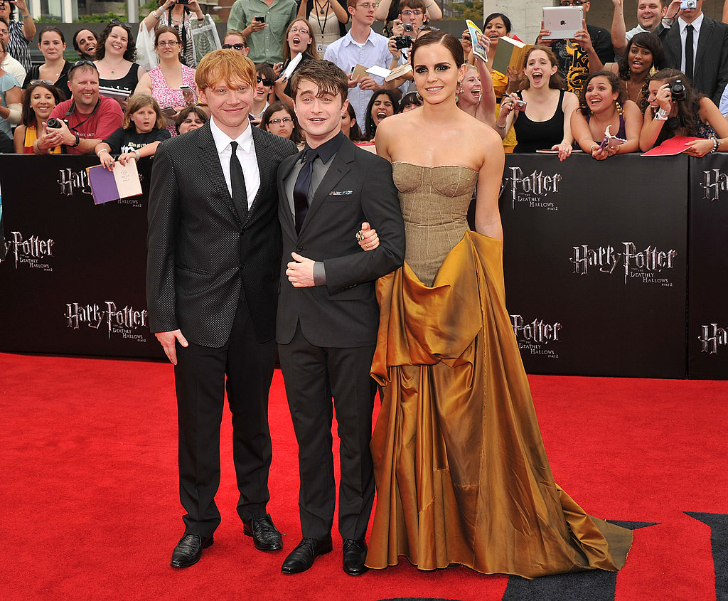 Daniel Radcliffe, Rupert Grint, and Emma Watson at Harry Potter and the Deathly Hallows Part 2 premiere in NYC.