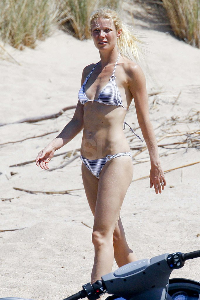 Gwyneth Paltrow in a white bikini.