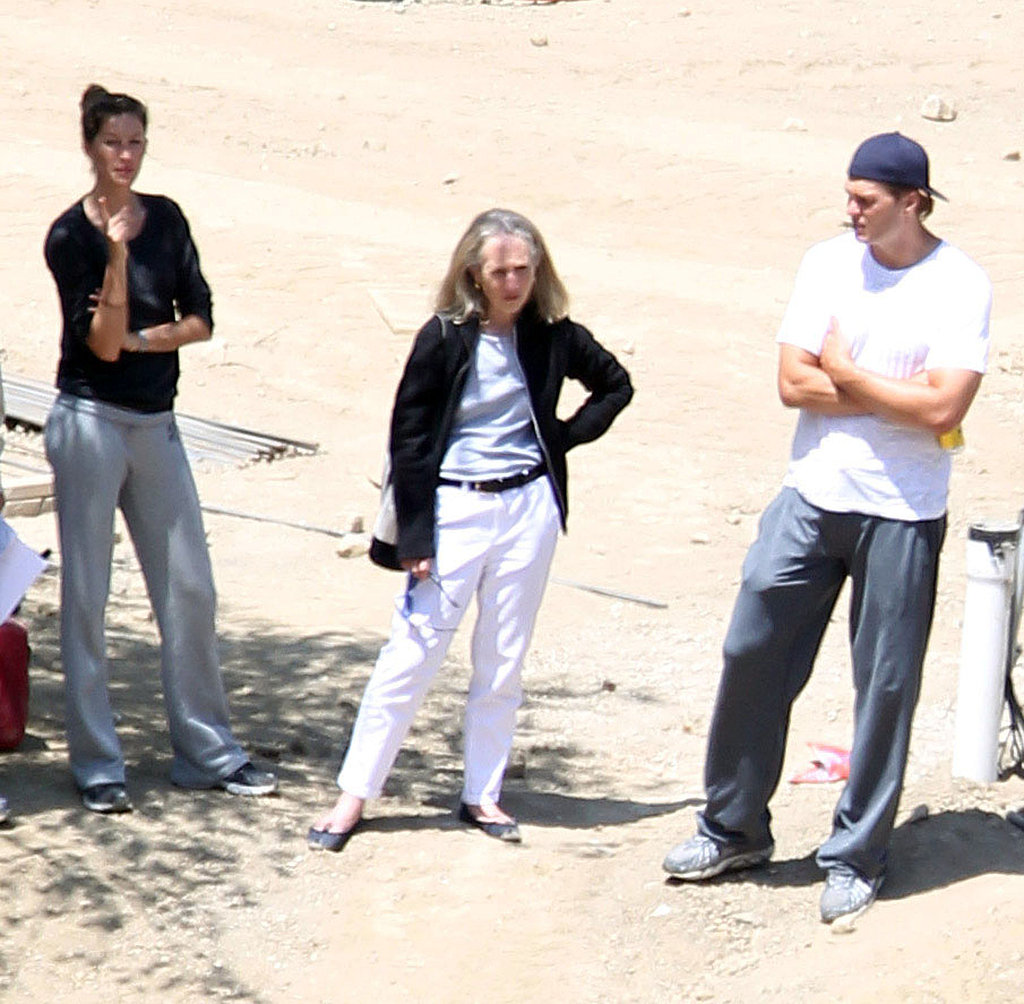 Gisele Bundchen and Tom Brady at the site of their new LA mansion.