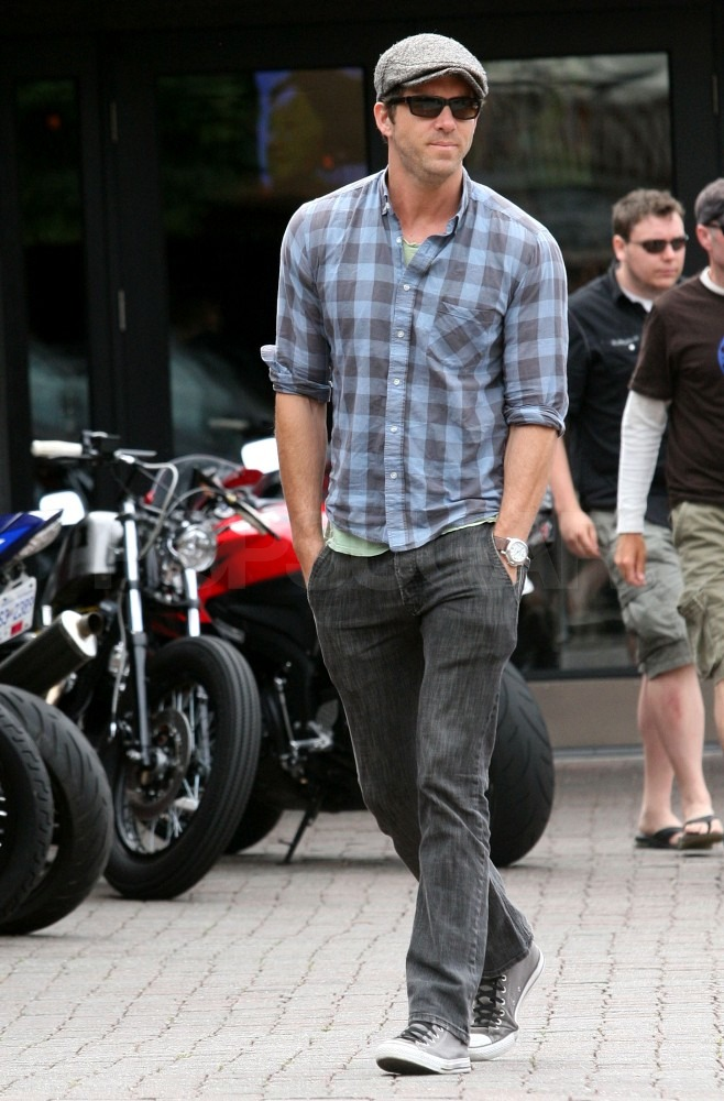 Ryan Reynolds wore plaid and a messenger cap.