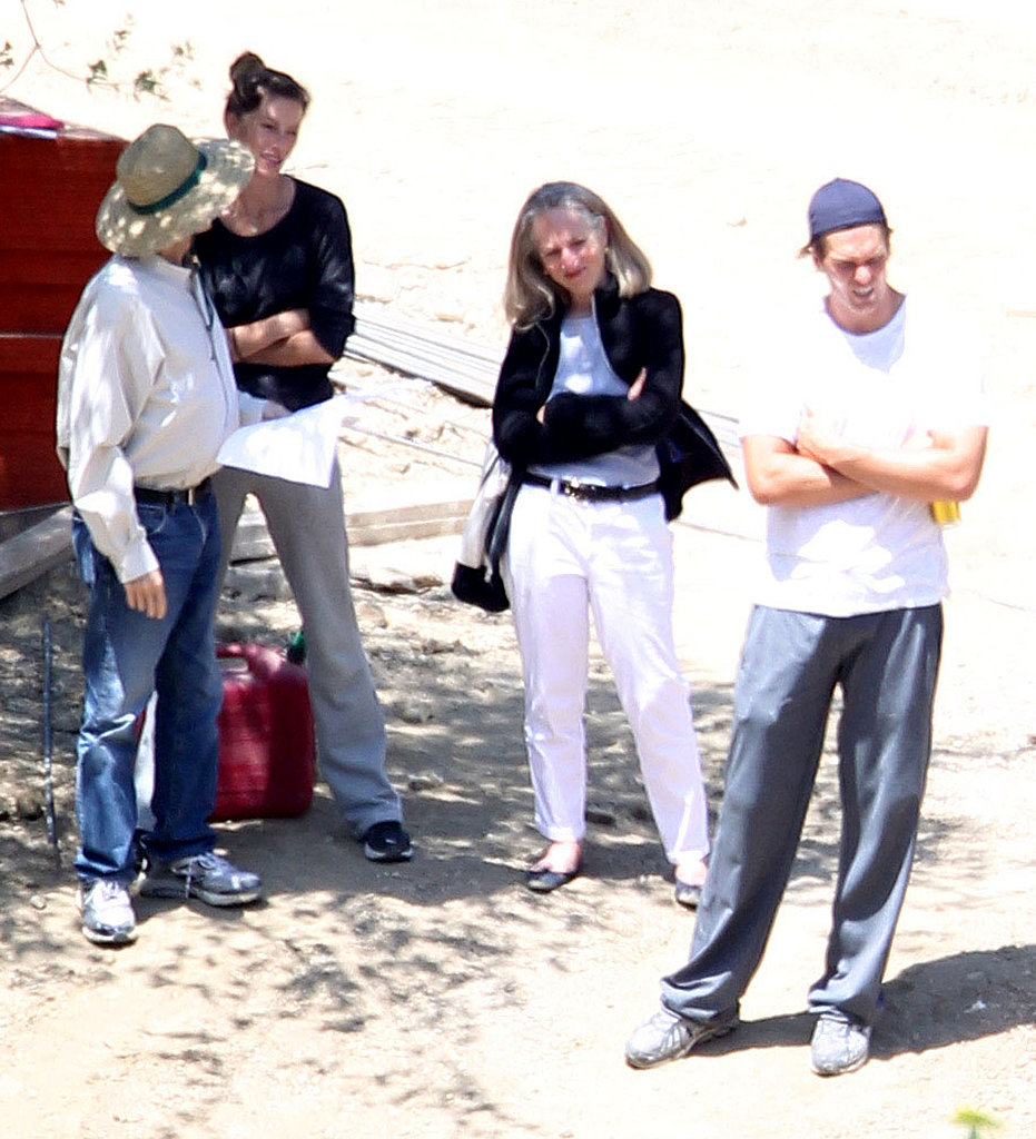 Gisele Bundchen and Tom Brady at the site of their LA mansion.