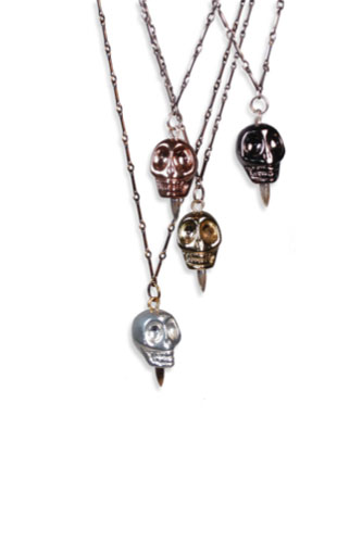 Bright Metal Skull Pendants in 10 and 14K Gold/Pewter, Gunmetal, and Bright Silver