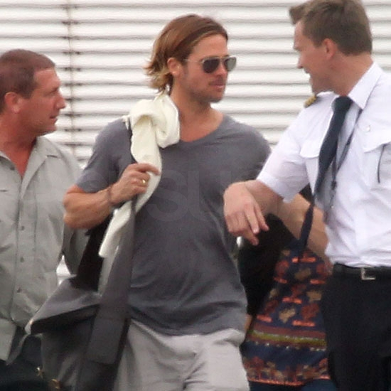 Brad Pitt about to board a plane.