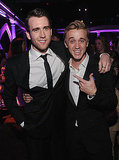 Matt Lewis pals around with his onscreen enemy Tom Felton, aka Draco Malfoy, at the NYC Harry Potter and the Deathly Hallows Part 2 premiere's afterparty.