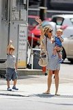 Sheryl Crow walking with Wyatt and Levi in NYC.