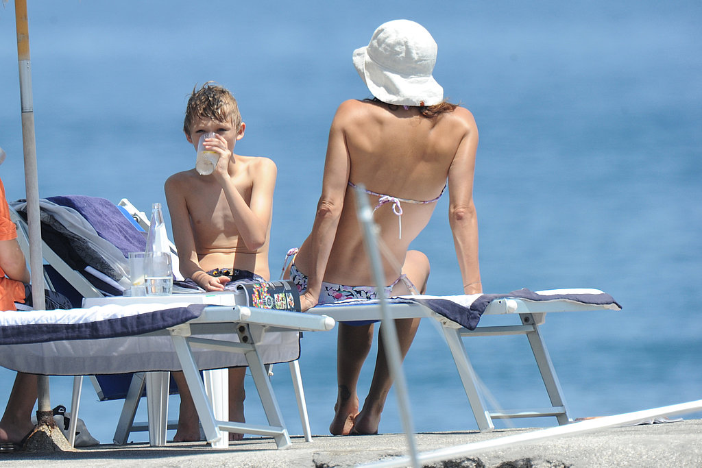 Helena Christensen dries off with son Mingus Reedus.