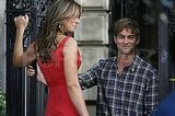 Elizabeth Hurley and Chace Crawford filming Gossip Girl.