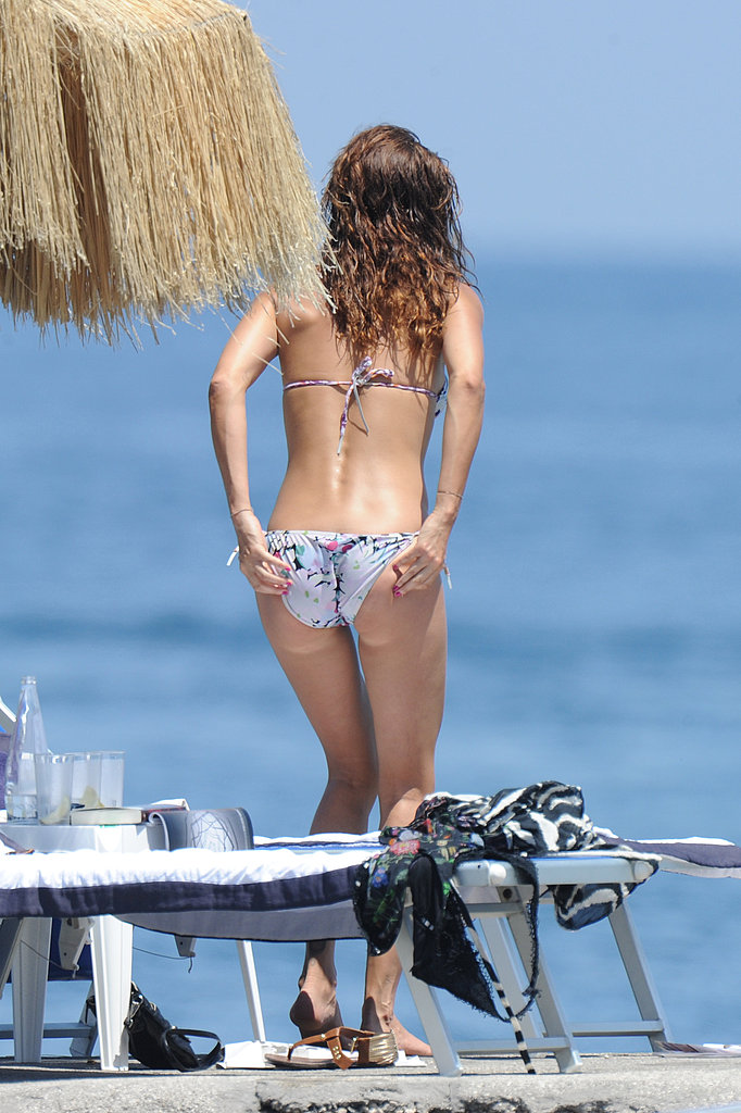 Helena Christensen in a bikini.