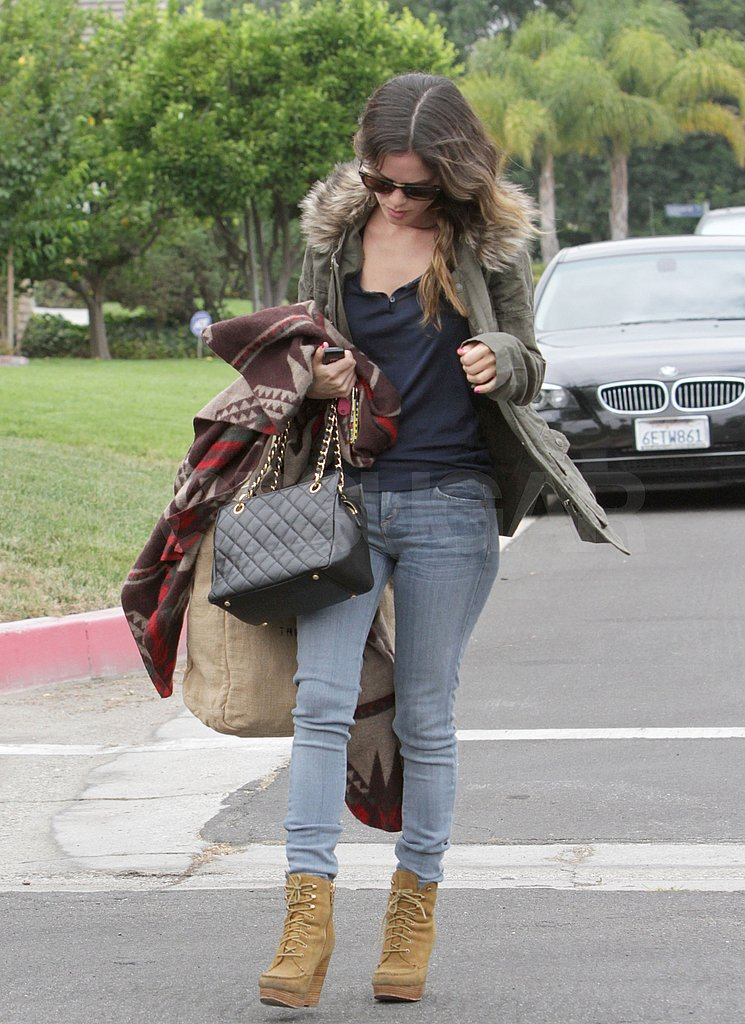 Rachel Bilson bundled up despite the warm temperatures in LA.