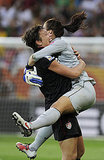 USA's goalkeeper Hope Solo celebrates with striker Abby Wambach after the quarterfinal match against Brazil.