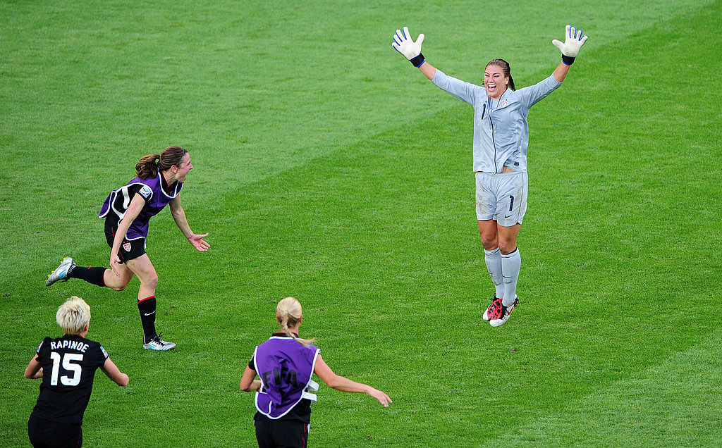 Hope jumps for joy after the win against Brazil.