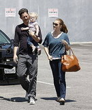 Darren Le Gallo and Amy Adams with baby Aviana.