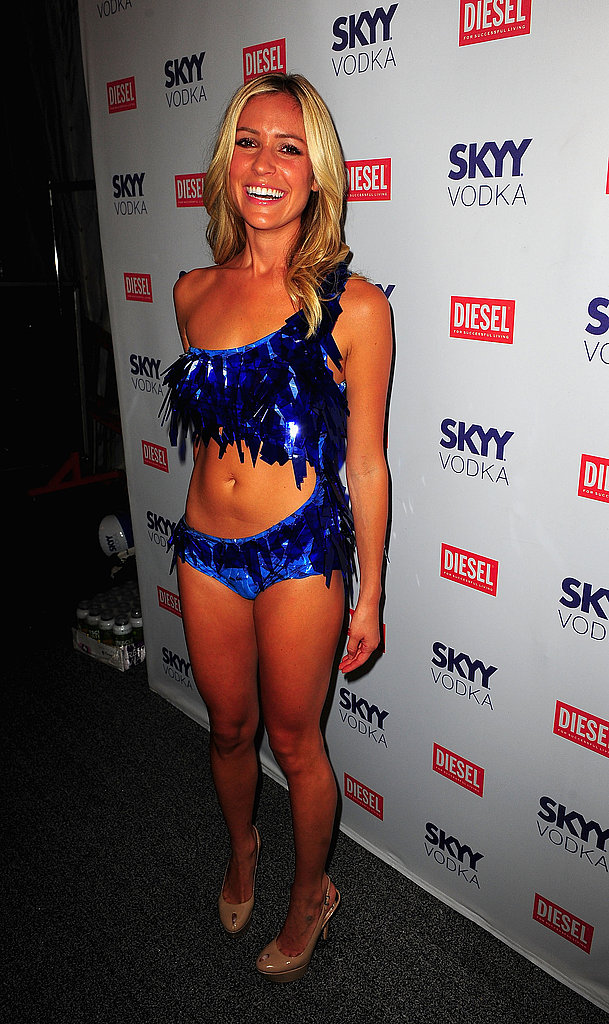 Kristin Cavallari in a sequined bathing suit.