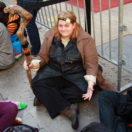 This girl dressed as Mad-Eye Moody at the LA opening of Harry Potter and the Deathly Hallows Part 2 made me laugh out loud.