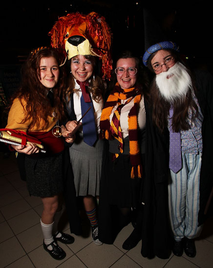 This group of Potterheads at the Harry Potter and the Deathly Hallows Part 2 screening in Australia includes a Luna in her lion headgear — love it!