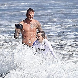 David Beckham Shirtless Pictures With Brooklyn Beckham