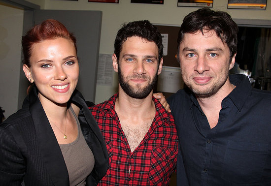 Scarlett Johansson wrapped her arm around Justin Bartha and Zach Braff backstage at their new play.