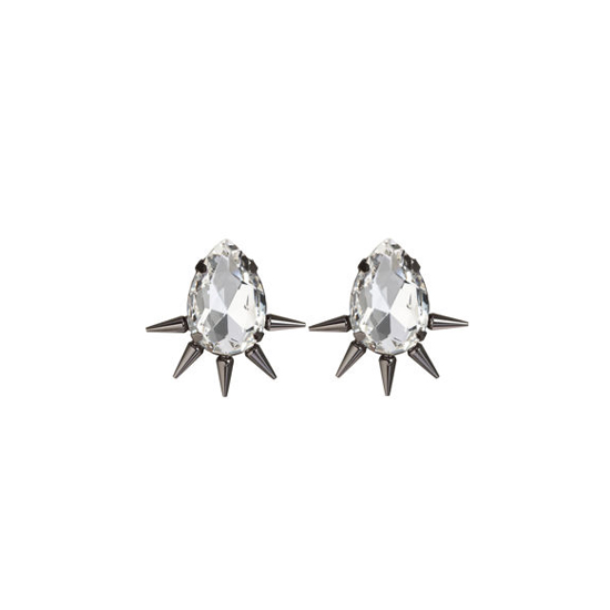 Fallon Gunmetal Spiked Teardrop Earrings, $125