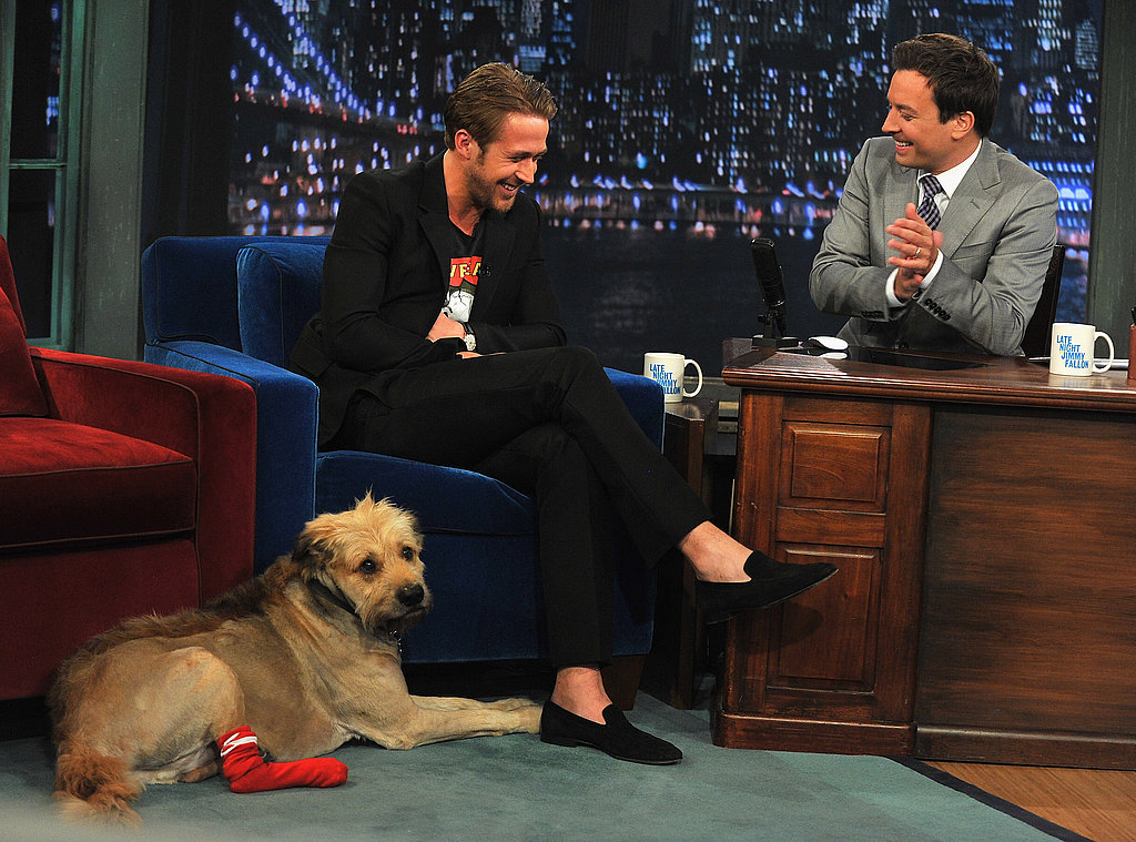 Ryan Gosling laughs with Jimmy Fallon.