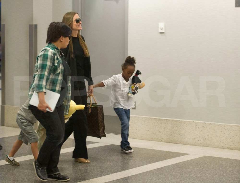 Zahara Jolie-Pitt travels with her mom Angelina Jolie.