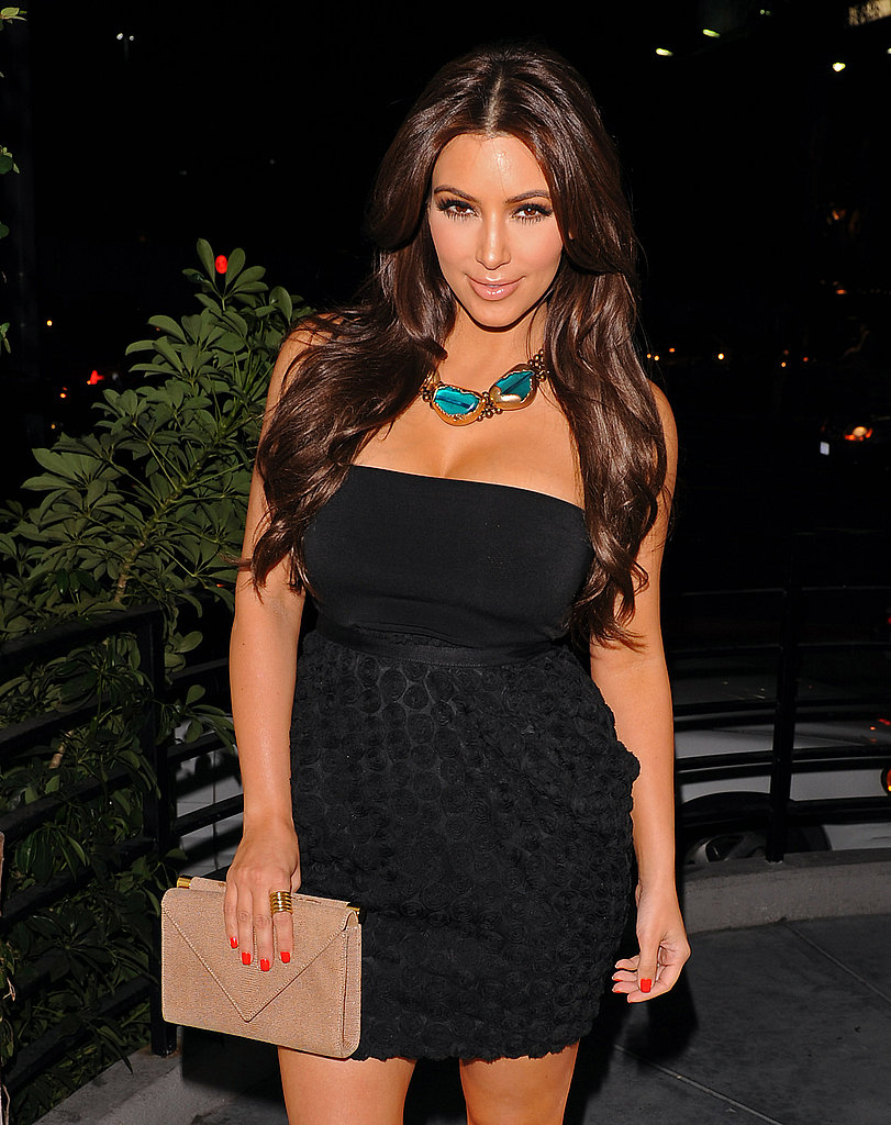 Kim Kardashian chose bright red nail polish for her night out on the town.