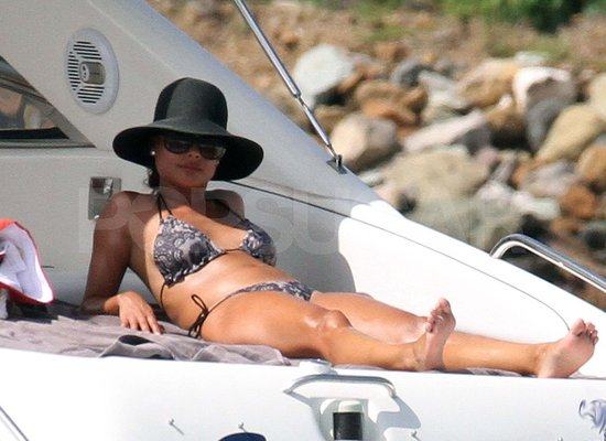 Vanessa Minnillo lounges in her bikini in St. Barts.