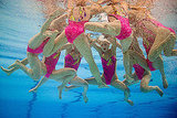 North Korea's synchronized swimming team huddles up underwater.