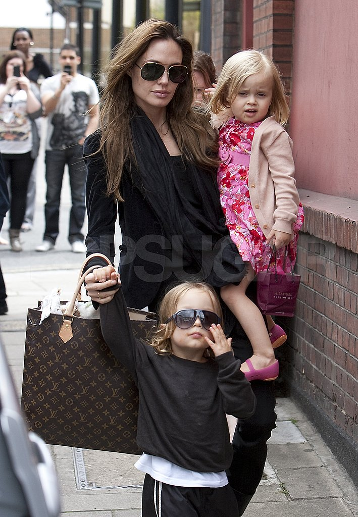Angelina Jolie out in London with Knox and Vivienne.
