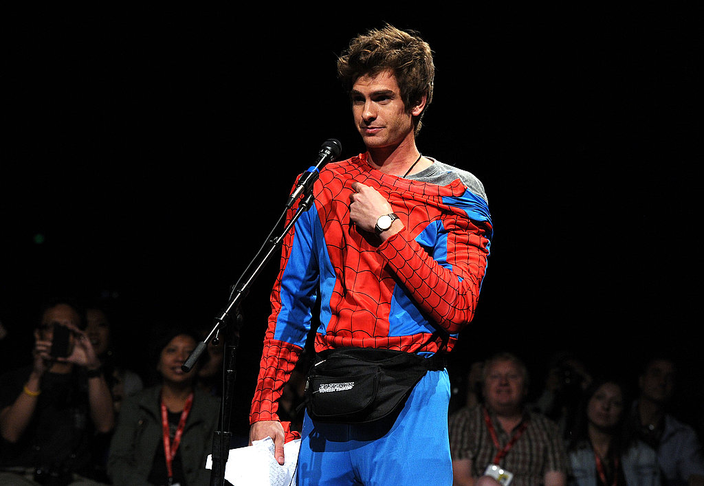 Andrew Garfield arrived in costume for the event.