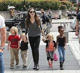 Angelina Jolie, Shiloh Jolie-Pitt, Zahara Jolie-Pitt, Vivienne Jolie-Pitt, and Knox Jolie-Pitt visited the London Aquarium together in July 2011.