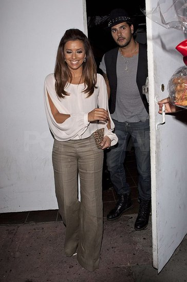 Eva Longoria and Eduardo Cruz left Beso late at night.