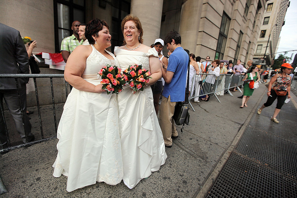 Barbara Tremblay and Stacey Minondo wait in line to get married in Brooklyn.