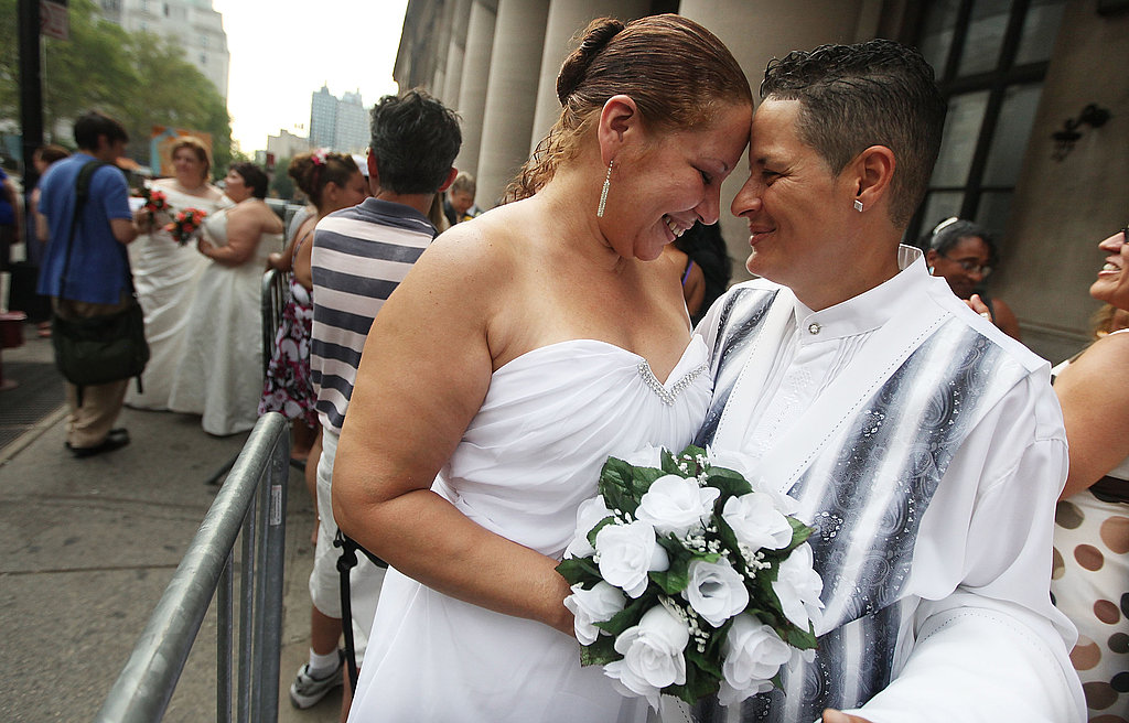Maira Garcia and Maria Vargas wait to get married in Brooklyn.