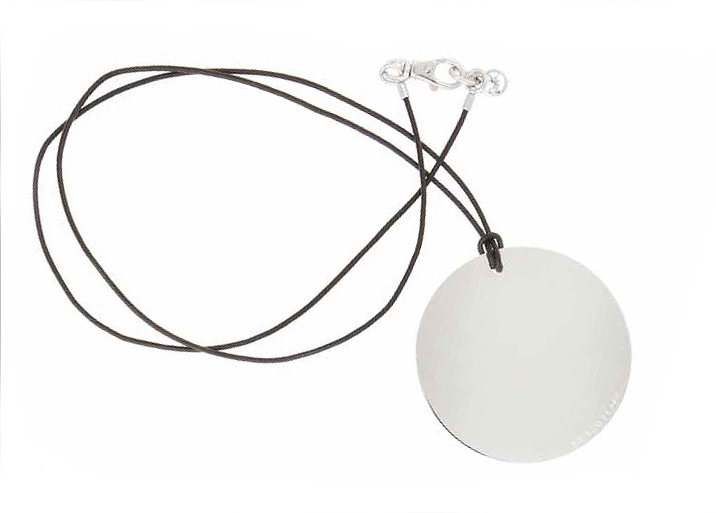 Large Silvertone Disc Pendant on Black Leather Cord, $125