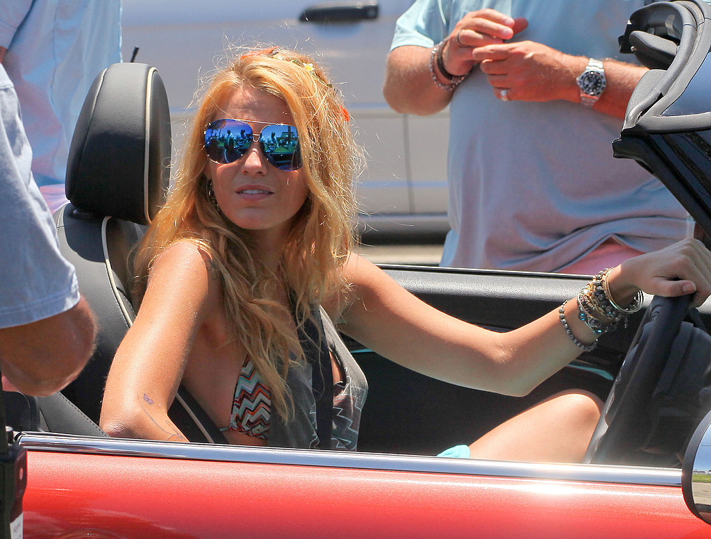 Blake Lively drove a red Mini Cooper on the set of Savages.