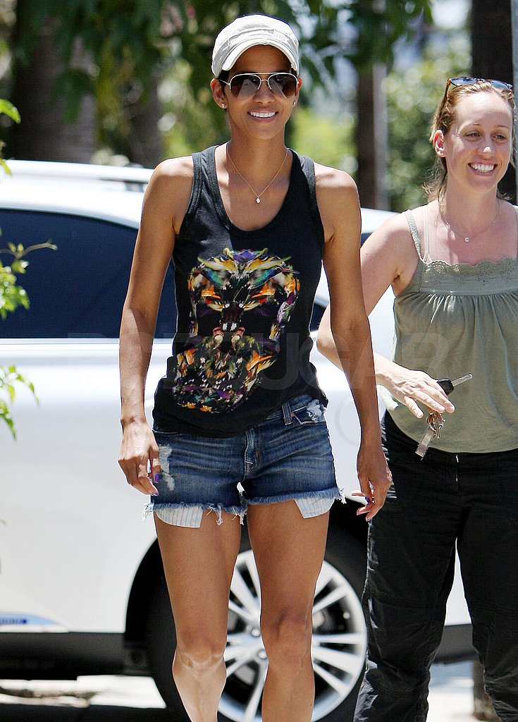 Halle Berry wore short denim shorts in LA.