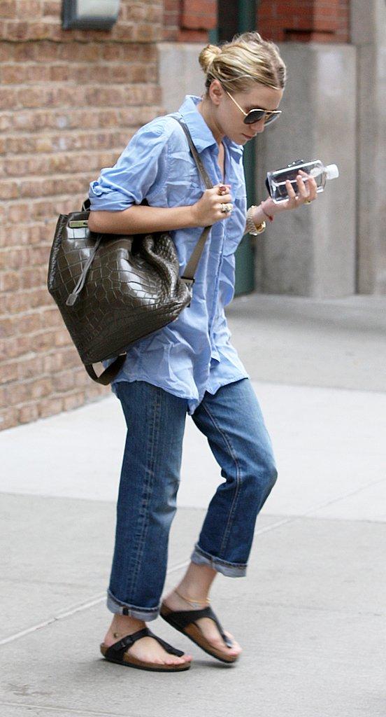 Ashley Olsen in Birkenstocks.