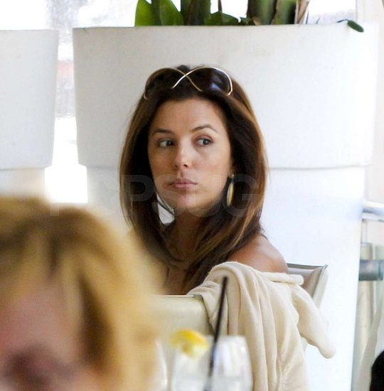 Eva Longoria let her hair down for the lunch date.