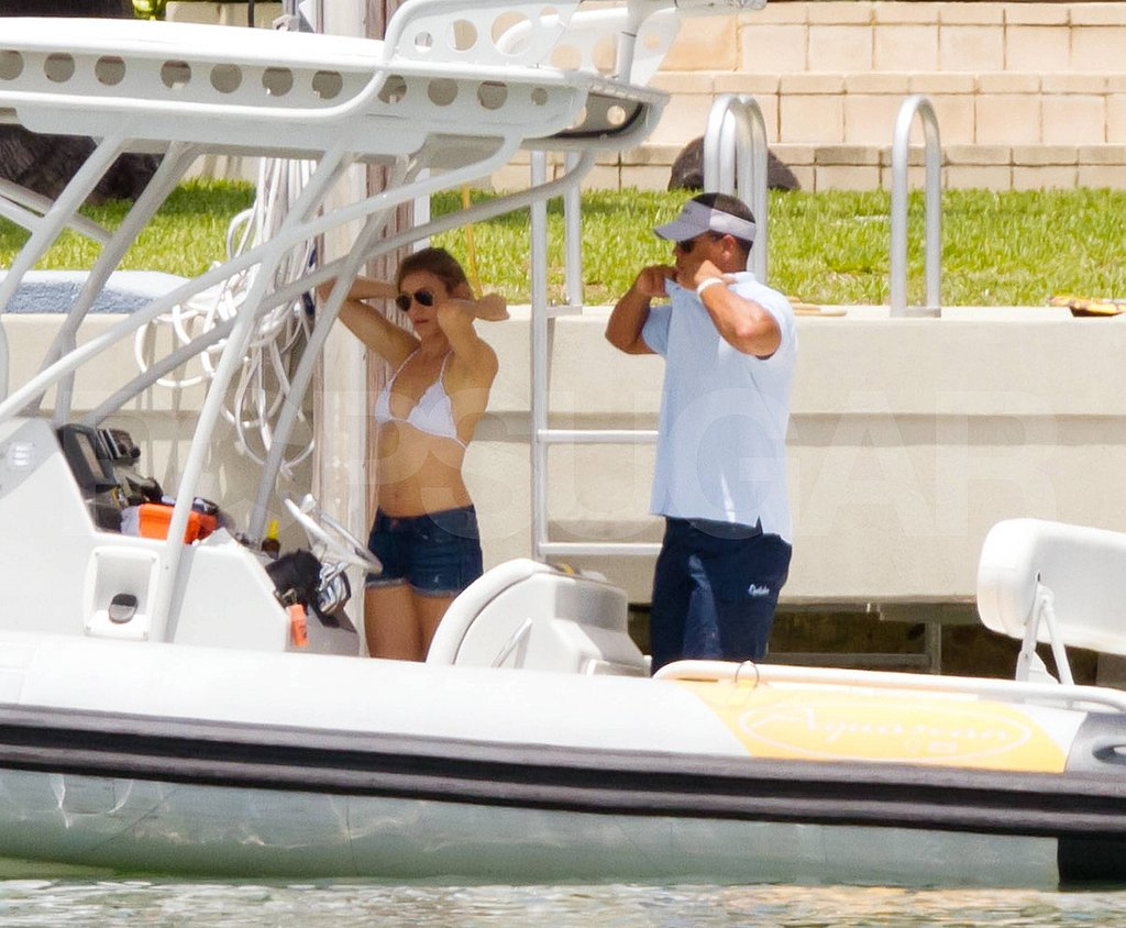 Cameron Diaz on a boat with Alex Rodriguez.