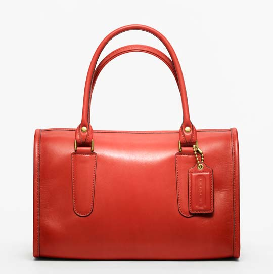 Coach Classic Leather Madison Satchel in Vermillion, $358