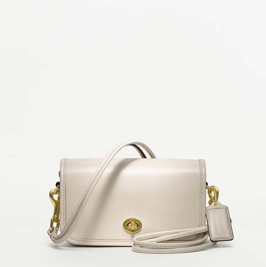 Coach Classic Leather Shoulder Purse in White, $298