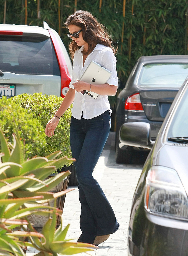 Katie Holmes left a studio carrying her iPad.