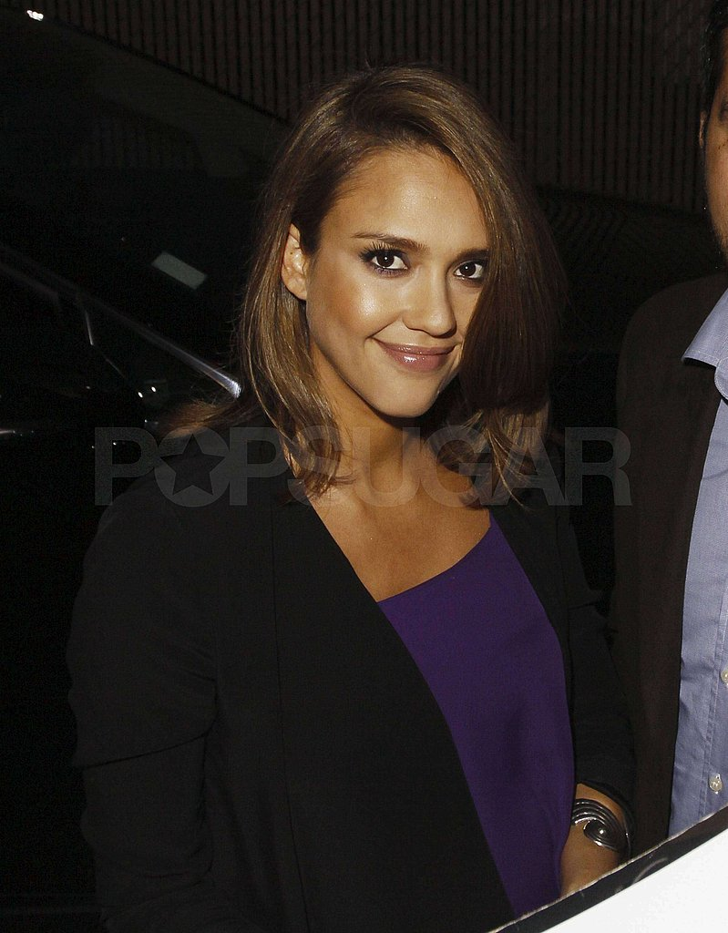 Jessica Alba flashed a smile at her fans.