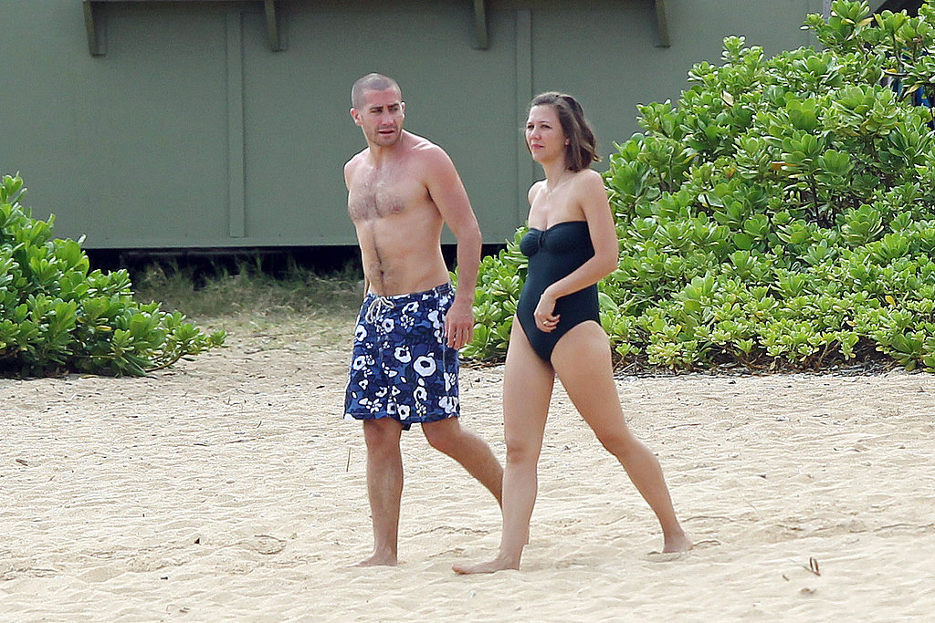 Jake Gyllenhaal and Maggie Gyllenhaal strolled on the shore.