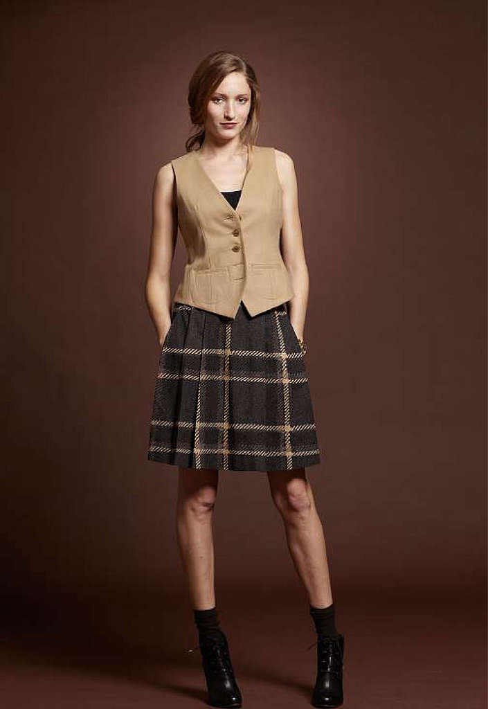 Cotton Modal Tank, $19; British Flannel Vest, $169; Beacon Poplin Skirt, $79; Cap Toe Boot, $249