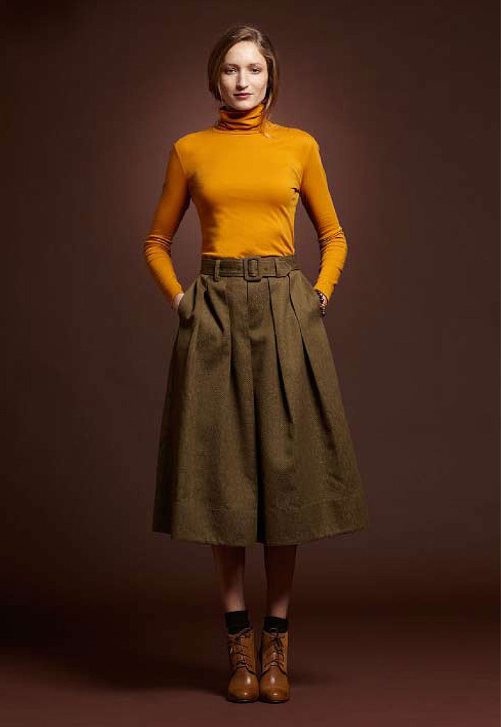 Cotton Turtleneck, $39; Jacquard Skirt, $149; Cap Toe Boot, $249