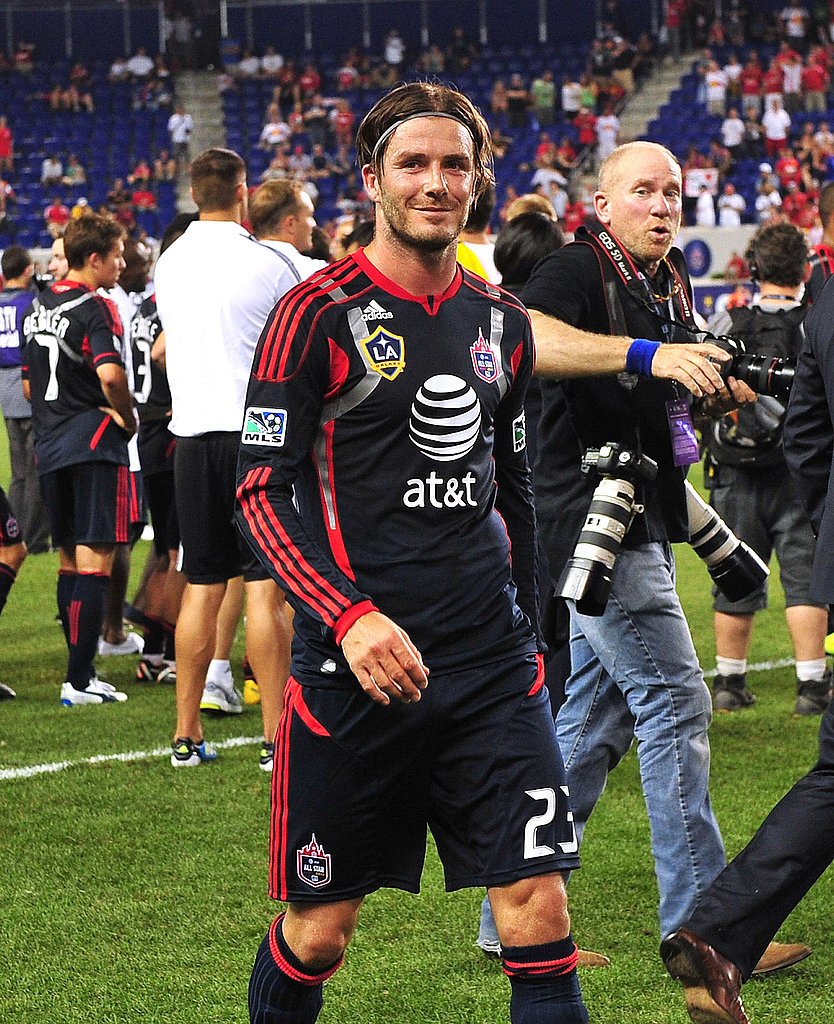 David Beckham on the field playing with the MLS All Stars.